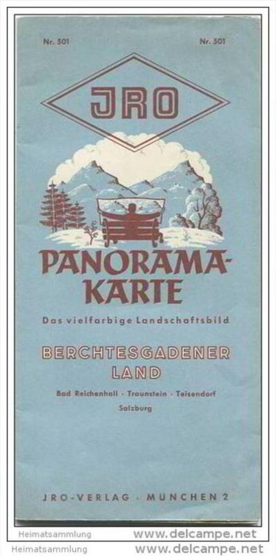 JRO Panoramakarte 50er Jahre - Berchtesgadener Land - Reliefkarte von Hans Holzapfel