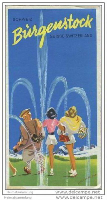 Bürgenstock 60er Jahre - Faltblatt mit 13 Abbildungen - Reliefkarte