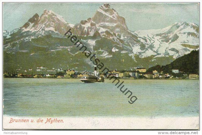 Brunnen und die Mythen ca. 1920 - Verlag Gebr. Wehrli Kilchberg Zürich