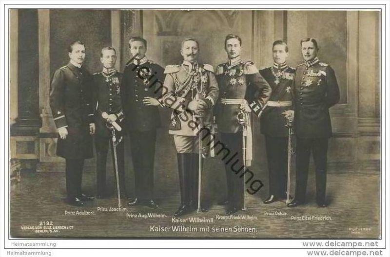 Preussen - Kaiser Wilhelm II. mit seinen Söhnen