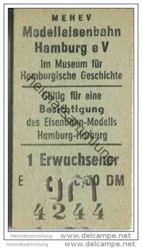 MEHEV - Modelleisenbahn Hamburg eV im Museum für Hamburgische Geschichte - Eintrittskarte
