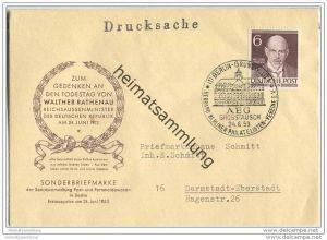 Todestag von Walter Rathenau - Ersttagsbrief 24. Juni 1953