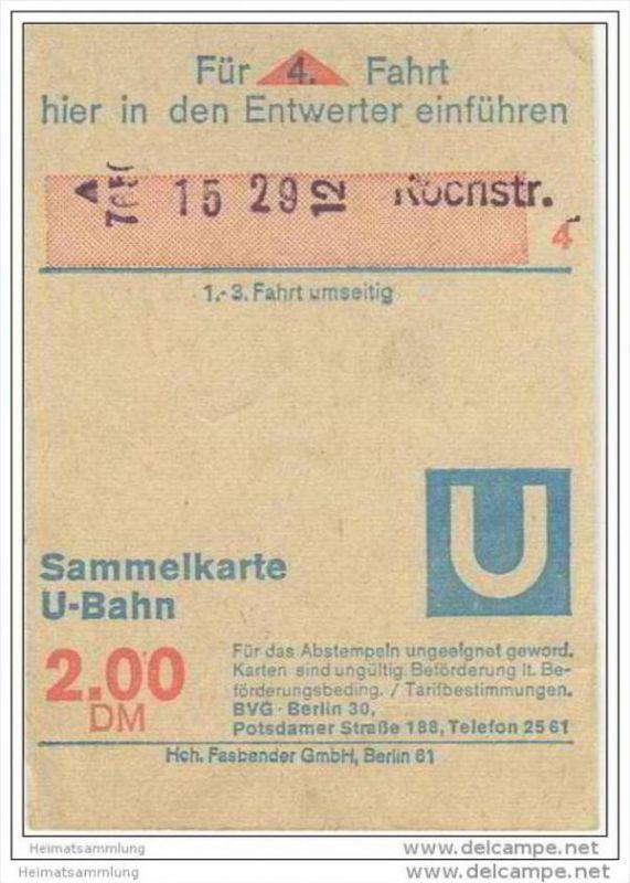 4 Fahrten Karte Bvg.Sammelkarte Dm 2 00 U Bahn 4 Fahrten Ohne Umsteigeberechtigung Zum Autobus Bvg Berlin Potsdamerstrasse 188 1972