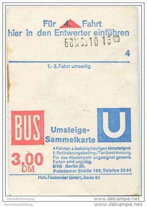 4 Fahrten Karte Bvg.Umsteige Sammelkarte Dm 3 00 Bus U Bahn 4 Fahrten Bvg Berlin Potsdamerstrasse 188 1975