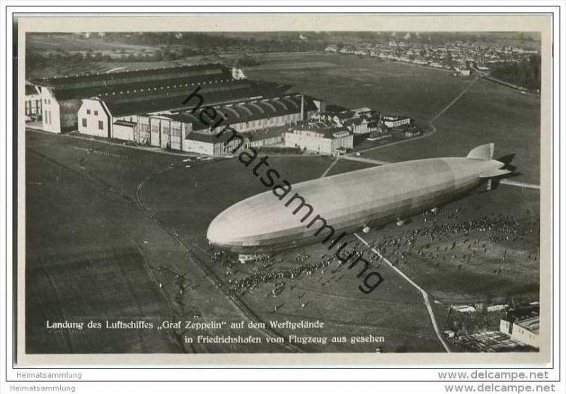 Friedrichshafen - Werftgelände - Landung des Luftschiffes Graf Zeppelin - Luftbild