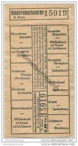 Fahrschein - Strausberg - Herzfelder Kleinbahn - Kraftfahrverkehr - II. Zone - 0.30 RM - von Strausberg Reichsbahnhof na