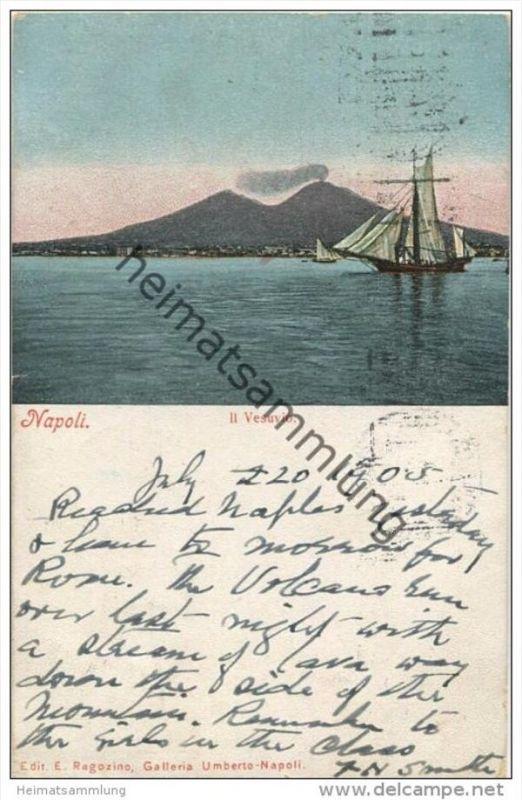 Napoli - Il Vesuvio - Edit. E. Ragozino Galleria Umberto Napoli gel. 1905