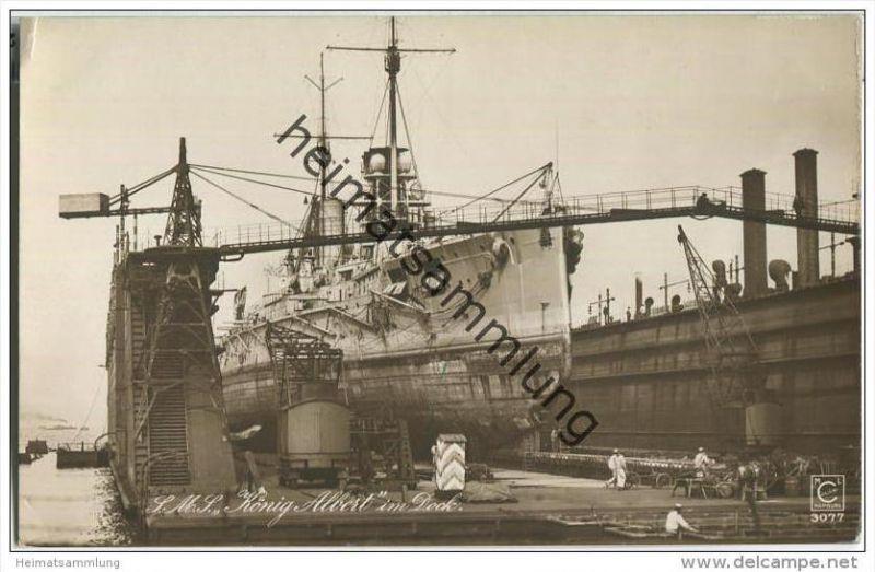 S.M.S. König Albert im Dock - Foto-AK