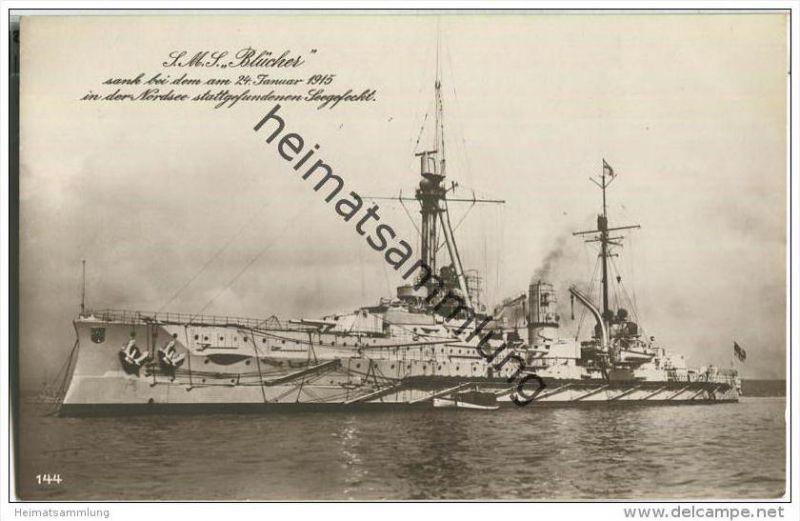 S.M.S. Blücher - Foto-AK - Briefstempel Kaiserliche Marine I. Torpedoabteilung