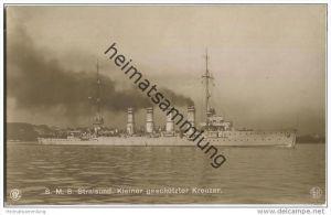 S.M.S. Stralsund - Foto-AK - Briefstempel Kaiserliche Marine I. Torpedoabteilung