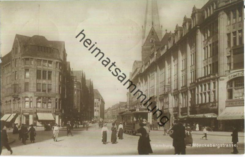 Hamburg - Mönckebergstrasse - Strassenbahn - Foto-AK - Verlag Max Lemke Hamburg