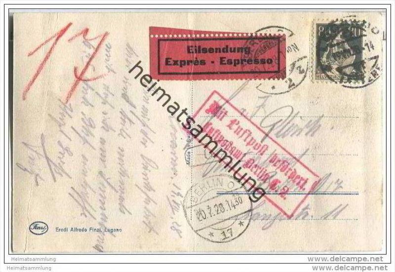 Eilsendung Locarno nach Berlin am 19.07.1928 mit rotem Kastenstempel 'Mit Luftpost befördert. Luftpostamt Berlin C.2. -