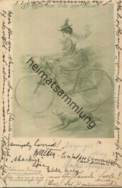 All Heil vom Fels bis zum Meer - Frau auf einem Fahrrad - Künstlerkarte