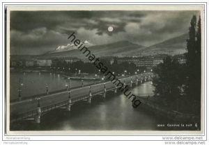 Genf bei Nacht - Geneve la nuit - Foto-AK