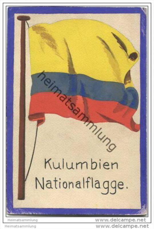 Kolumbien - National Flagge - keine Ansichtskarte - Grösse ca. 14 X 9 cm - etwa 1920 handgemalt auf dünnem Karton