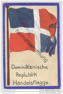 Dominikanische Republik - Handels Flagge - keine Ansichtskarte Grösse ca. 14 X 9 cm etwa 1920 handgemalt