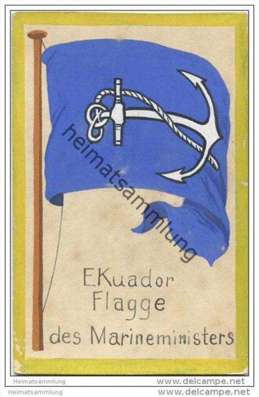 Ecuador - Flagge des Marineministers - keine Ansichtskarte Grösse ca. 14 X 9 cm etwa 1920 handgemalt