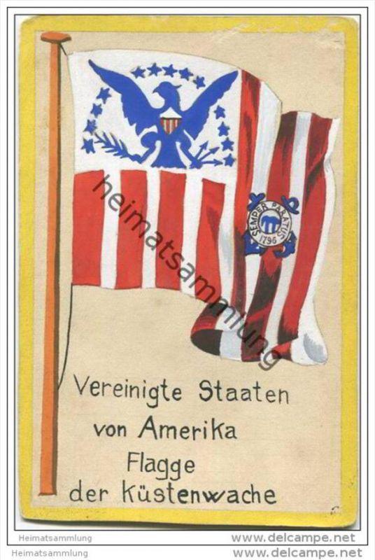 Vereinigte Staaten von Amerika - Flagge der Küstenwache - keine Ansichtskarte Grösse ca. 14 X 9 cm etwa 1920 handgemalt
