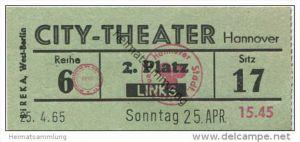 Hannover - City-Theater 1965 - Eintrittskarte