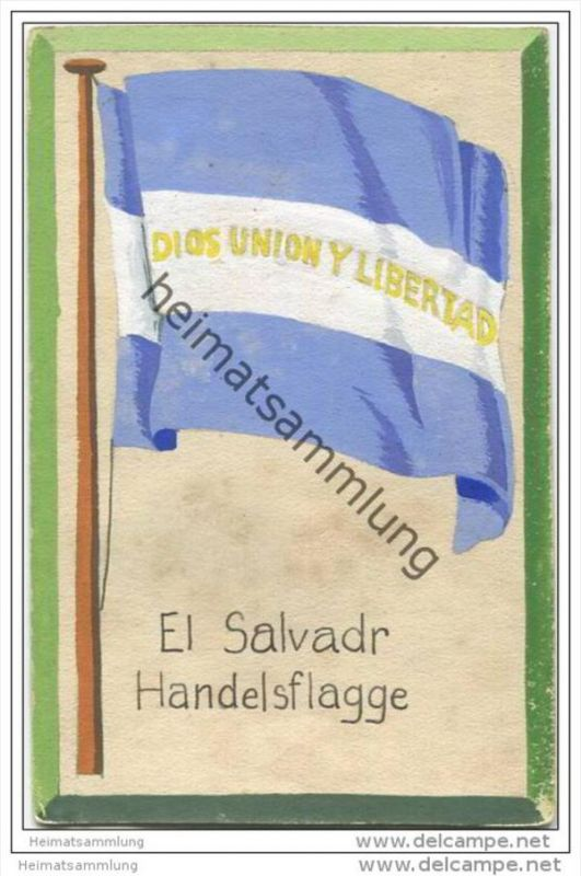 El Salvador - Handels Flagge - keine Ansichtskarte - Grösse ca. 14 X 9 cm - etwa 1920 handgemalt