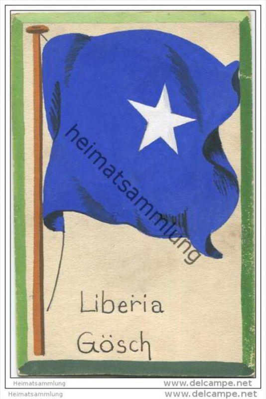 Liberia - Gösch - Flagge - keine Ansichtskarte - Grösse ca. 14 X 9 cm - etwa 1920 handgemalt auf dünnem Karton