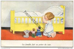 Nachtgebet - La famille fait sa priere du soir - Künstlerkarte John Wills - gel. 1935