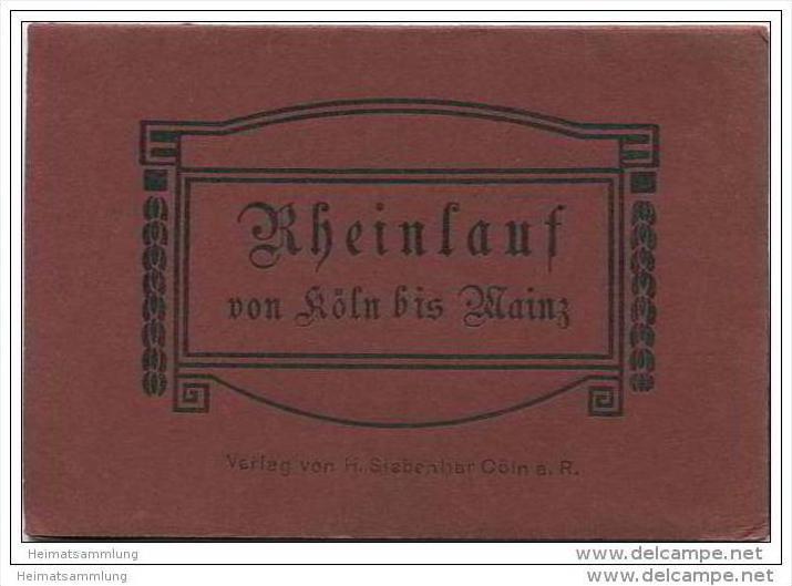 Rheinlauf von Köln bis Mainz 1916 - 17cm x 95cm - beidseitig bedruckt - Verlag H. Siegenhar Cöln