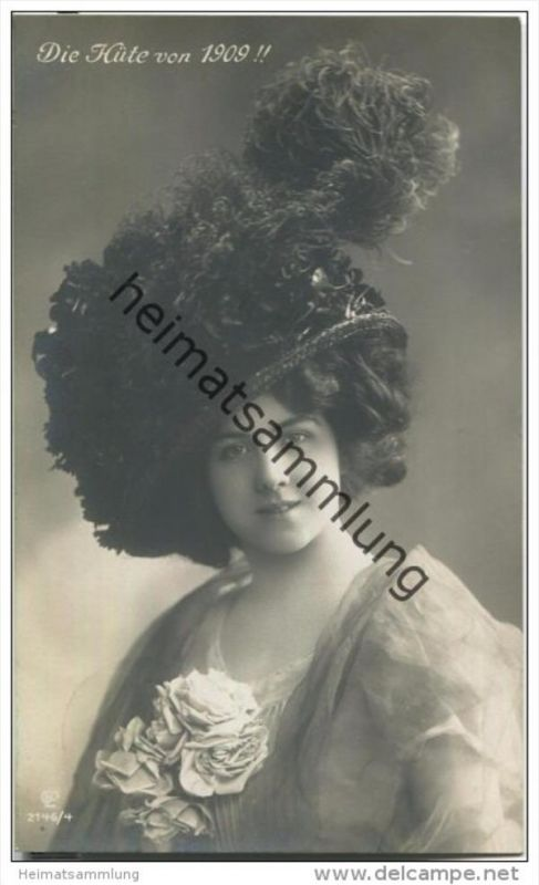 Frau mit Hut - Hutmode - Die Hüte von 1909 - Verlag Gustav Liersch & Co Berlin 2146/4
