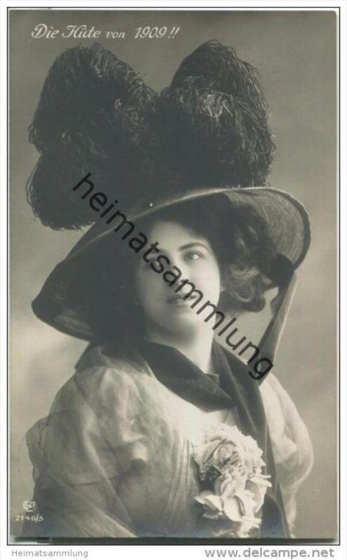 Frau mit Hut - Hutmode - Die Hüte von 1909 - Verlag Gustav Liersch & Co Berlin 2146/5