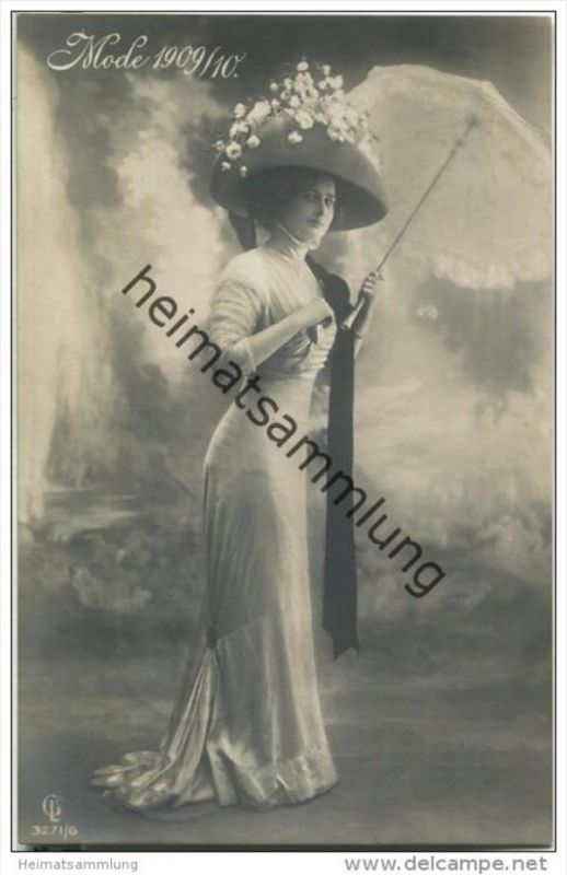 Frau mit Hut - Hutmode - Mode 1909/10 - Verlag Gustav Liersch & Co Berlin 3271/6