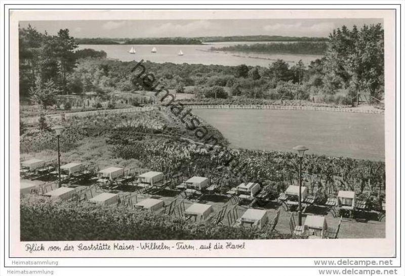Berlin-Grunewald - Blick von der Gaststätte Kaiser-Wilhelm-Turm auf die Havel - Foto-AK 50er Jahre
