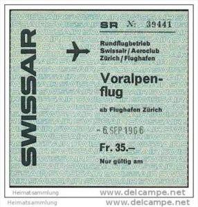 Swissair - Voralpenflug 1966 Rundflugbetrieb ab Flughafen Zürich