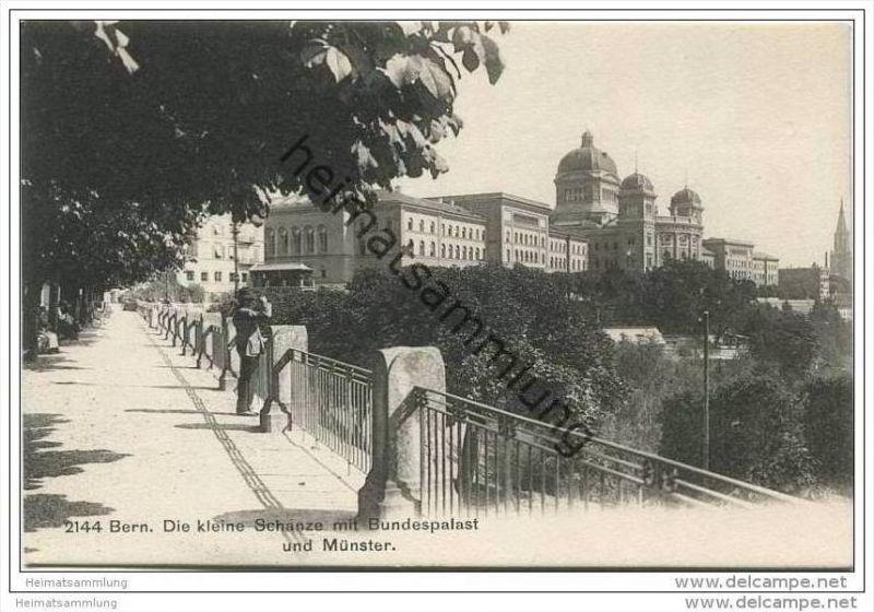Bern - Die kleine Schanze mit Bundespalast und Münster