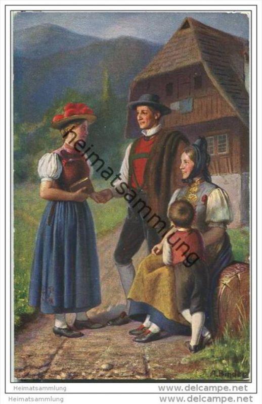 Tracht aus dem Schwarzwald - signiert A. Binder - Künstlerkarte