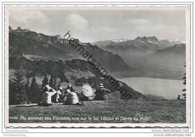 Au sommet des Pleiades vue sur le lac Leman et Dents du Midi - Foto-AK 0