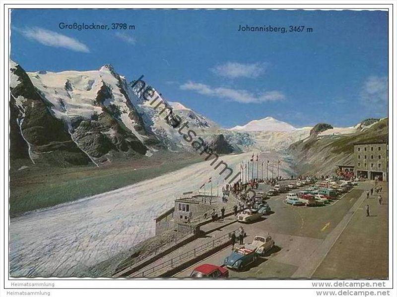 Grossglockner - Parkplatz Freiwandeck mit Gletscherbahn - AK Grossformat 60er Jahre
