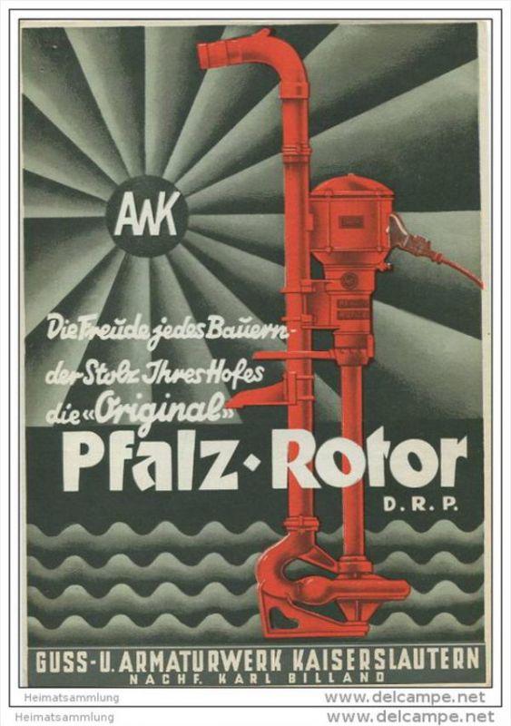 Guss- und Armaturwerk Kaiserslautern - Nachf. Karl Billand - Pfalz-Rotor D.R.P. Jauchepumpe - Faltblatt 1937