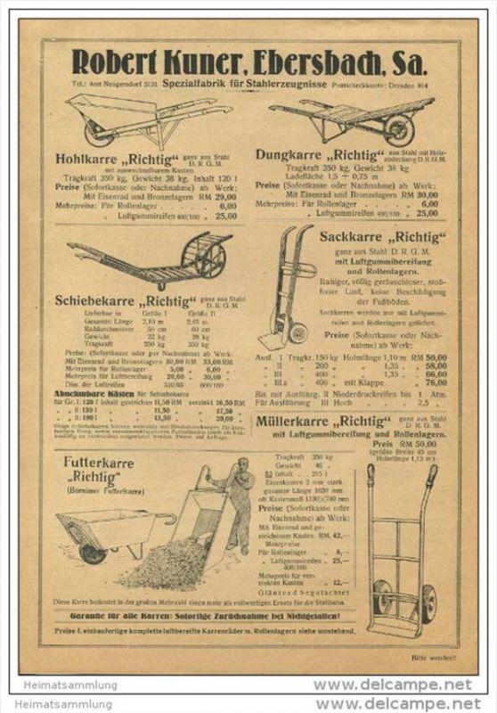 ROKU Robert Kuner Ebersbach - Spezialfabrik für Stahlerzeugnisse - DINA4 Blatt mit 9 Abbildungen 30er Jahre