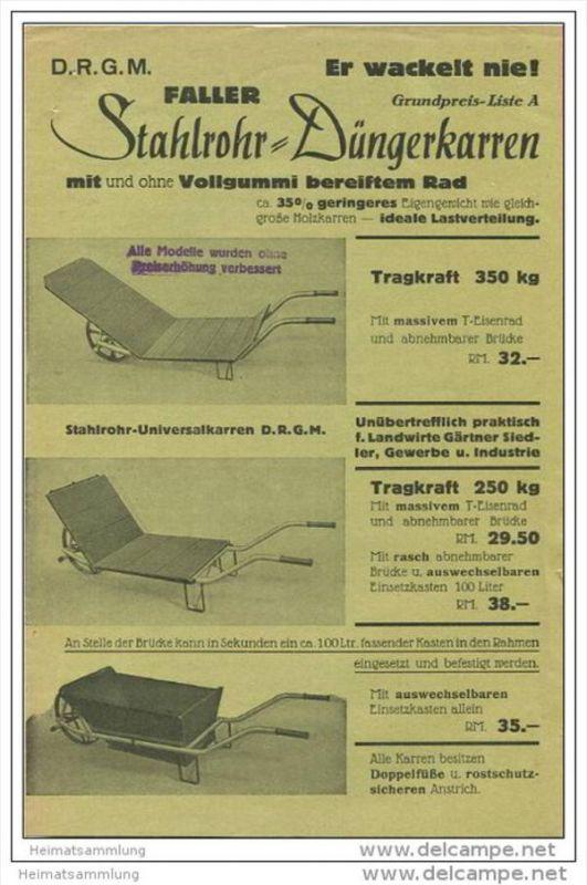 Fa. Faller Maschinenbau Deisenhofen Josef-Weigl-Str. 85 - Stahlrohr-Düngerkarren - Faltblatt mit 3 Abbildungen - Preise