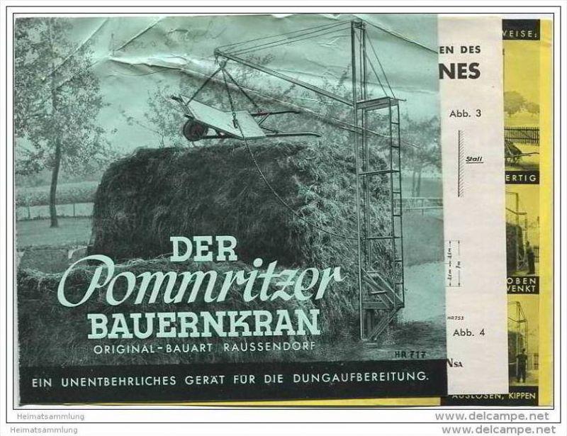 Maschinenfabrik Hermann Raussendorf Singwitz-Bautzen - Pommritzer Bauernkran - Faltblatt mit 9 Abbildungen 1938