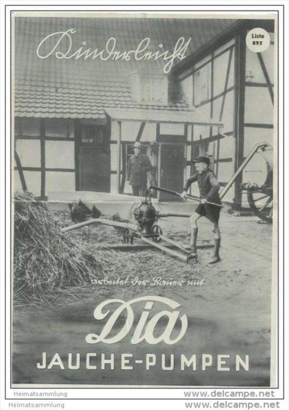 Hammelrath & Schwenzer Pumpenfabrik KG Düsseldorf 30er Jahre - Dia-Jauchepumpe - Faltblatt mit 10 Abbildungen