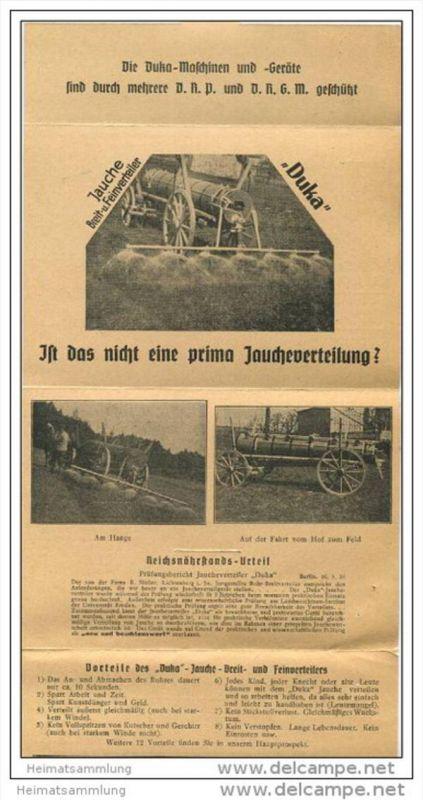 Duka Jauche-Breit- und Feinverteiler - Leporello in Postkartengrösse mit 6 Abbildungen 30er Jahre