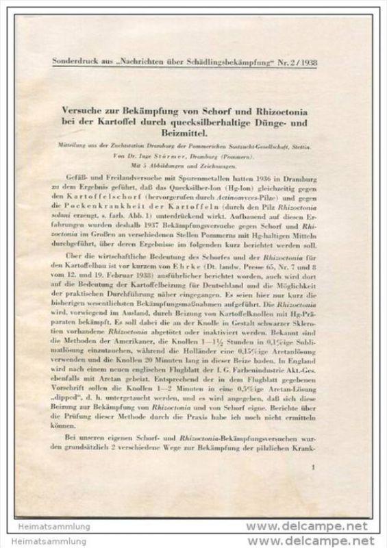 Sonderdruck aus Nachrichten über Schädlingsbekämpfung Nr. 2 1938 - Versuche zur Bekämpfung von Schorf und Rhizoctonia be