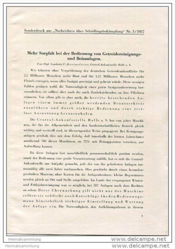 Sonderdruck aus Nachrichten über Schädlingsbekämpfung Nr. 3 1937 - Mehr Sorgfalt bei der Bedienung von Getreidereinigung