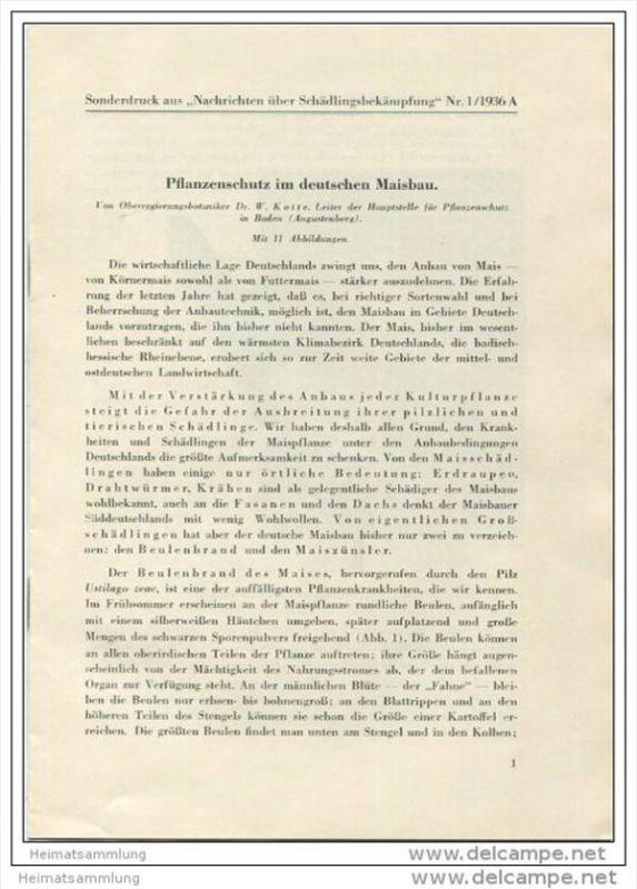 Sonderdruck aus Nachrichten über Schädlingsbekämpfung Nr. 1 1936 - Pflanzenschutz im deutschen Maisanbau