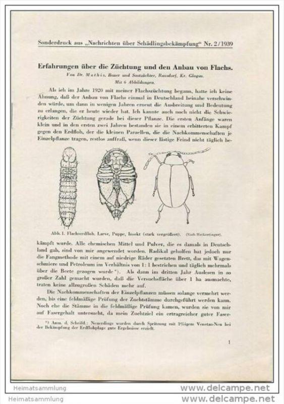 Sonderdruck aus Nachrichten über Schädlingsbekämpfung Nr. 2 1939 -Erfahrungen über die Züchtung und den Anbau von Flachs