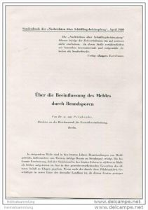 Sonderdruck aus Nachrichten über Schädlingsbekämpfung April 1940 - Über die Beeinflussung des Mehles durch Brandsporen