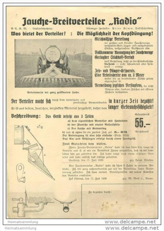 Radio - Jauche-Breitverteiler - Hersteller Peter Gimm Tolk/Schleswig - DinA4 Blatt 1936