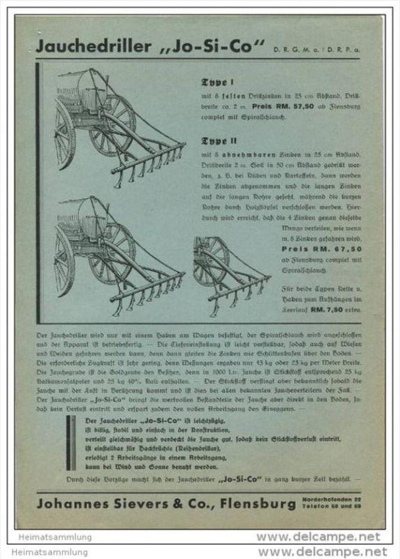 Jo-Si-Co - Jauchedriller - Hersteller Johannes Sievers & Co. Flensburg Norderhofenden 22 - DinA4 Blatt 30er Jahre