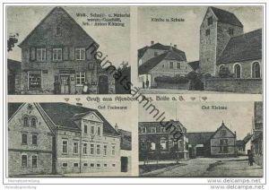 Gruss aus Asendorf Bezirk Halle - Woll- Schnitt- und Materialwaren Geschäft Inh. Anton Kützing - Kirche und Schule